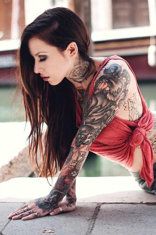Demon wolf sleeve tattoo