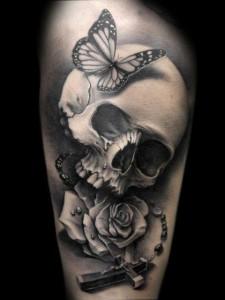 skull and rose tattoos  Butterfly-skull-cross-...