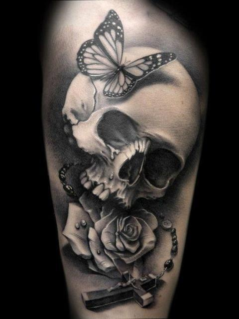 Butterfly skull cross rose tattoo - Design of TattoosDesign of Tattoos