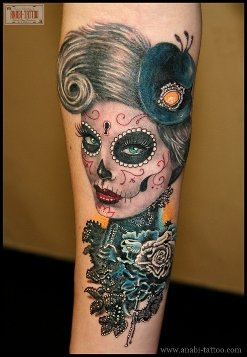 Girly sugar skull tattoos
