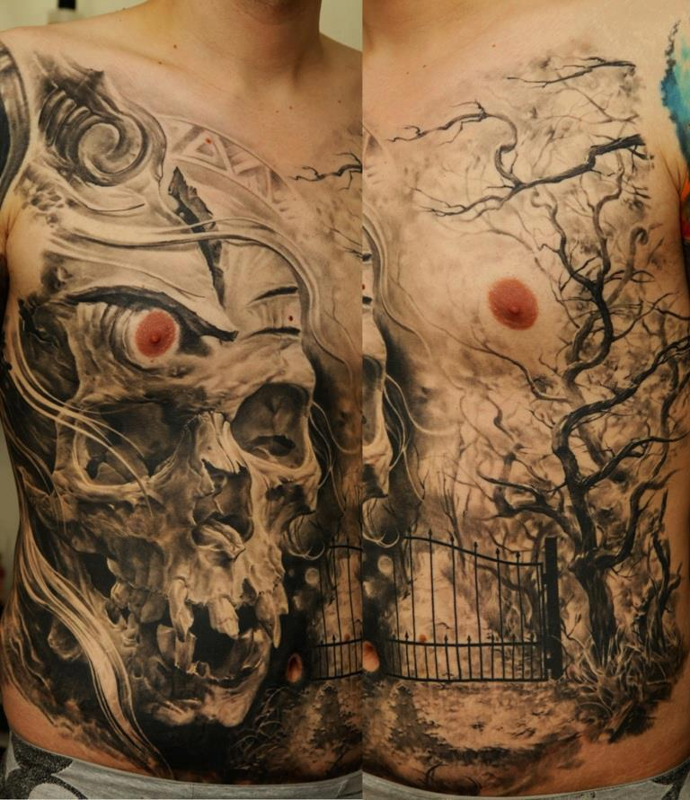 scary whole front skull tattoo design of tattoosdesign of tattoos. Black Bedroom Furniture Sets. Home Design Ideas